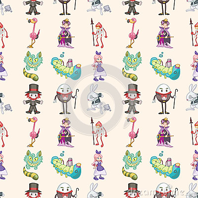 Seamless Alice in Wonderland pattern