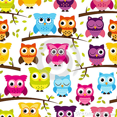 Free Seamless And Tileable Vector Owl Background Pattern Stock Photos - 37968143