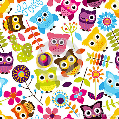 Free Seamless And Tileable Vector Owl Background Pattern Royalty Free Stock Photo - 37968215