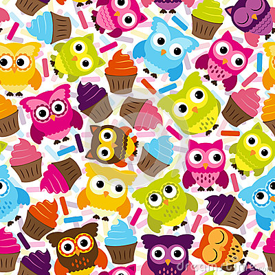 Free Seamless And Tileable Vector Owl Background Pattern Stock Photo - 37968220