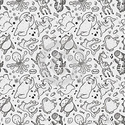 Seamless animal dancing pattern