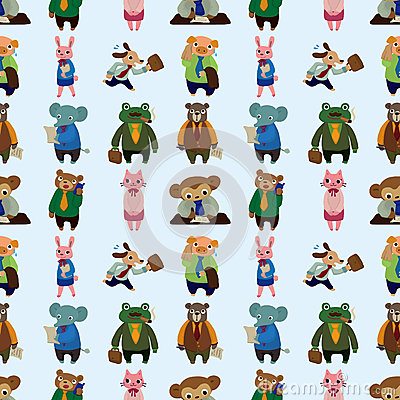 Seamless animal office worker pattern