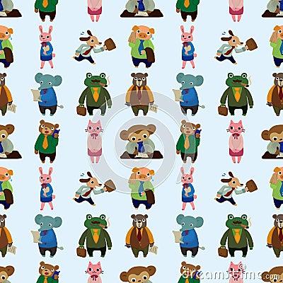 Seamless animal office worker pattern