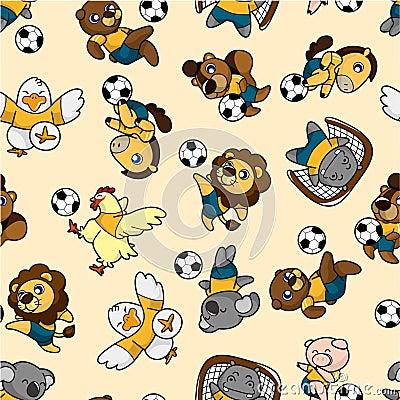 Seamless animal soccer pattern