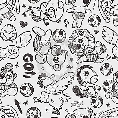 Seamless animal soccer player pattern