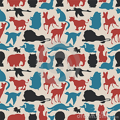 Free Seamless Animals Silhouettes Royalty Free Stock Photography - 16795037