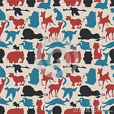 Seamless animals silhouettes