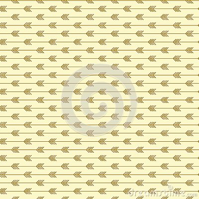 Seamless arrow pattern with light gold colors. Modern trendy shape art style. Vector Illustration