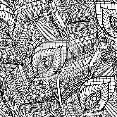 Free Seamless Asian Ethnic Floral Retro Doodle Black And White Background Pattern In Vector With Feathers. Stock Image - 72220761
