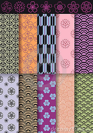 Seamless asian patterns, vector
