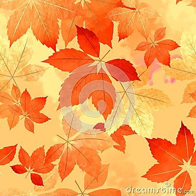 Free Seamless Autumn Leaf Fall Pattern Royalty Free Stock Photos - 43551668