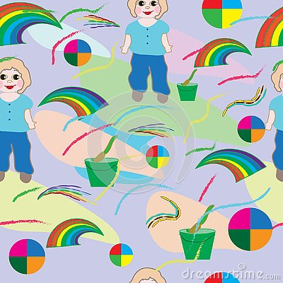 Seamless-baby-background-with-baby,-brush,-rainbow-and-flowers Vector Illustration