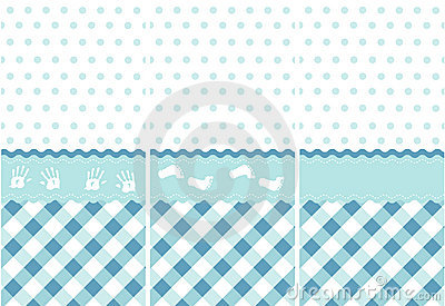 Seamless Baby Boy Pattern Blue Wallpaper Set Stock Photo