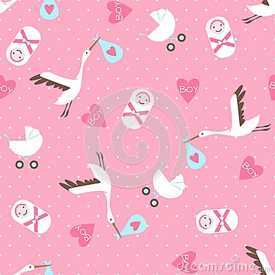 Seamless Baby Shower Pattern On Pink Background Stock