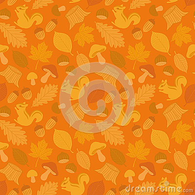Seamless background of autumn icons.