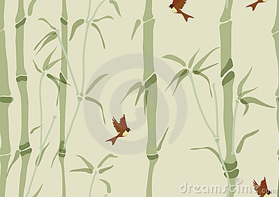 Seamless background with bamboo and birds