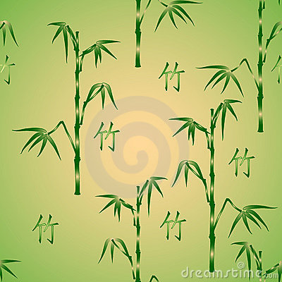 Seamless background with bamboo and hieroglyph