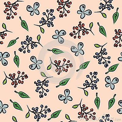 Seamless background with berries and butterflies.