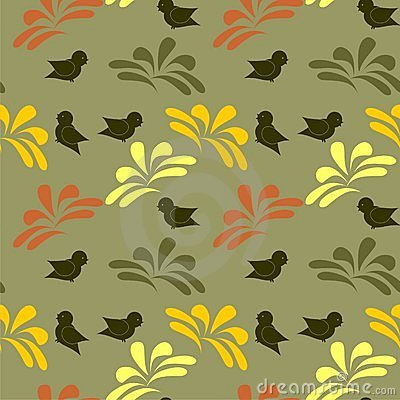 Seamless background with birds and flowers