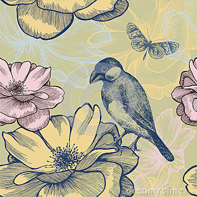 Seamless background with birds, roses and butterfl
