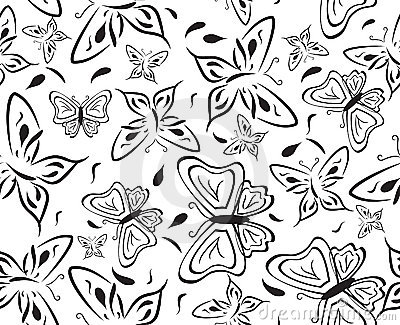 Seamless a background with black butterflies