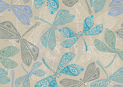 Seamless background with blue dragonfly