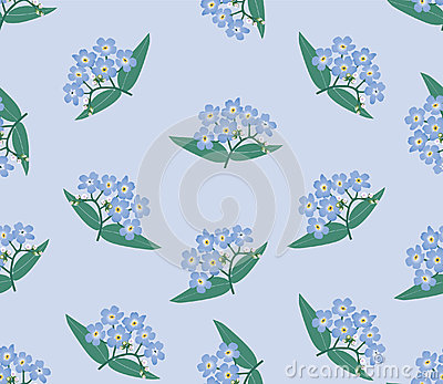 Seamless background with blue flowers