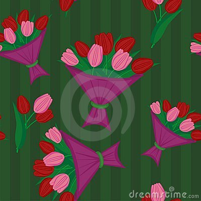 Seamless background with bouquets of tulips