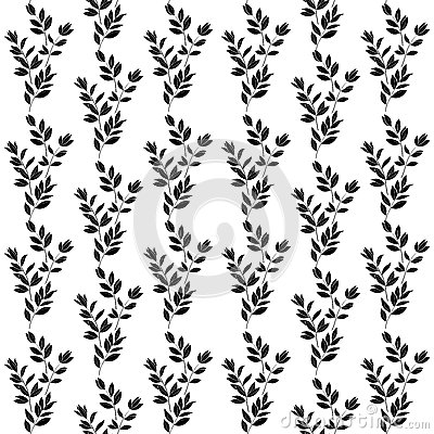 Seamless background, branches, silhouettes