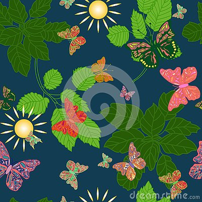 Seamless background of butterflies in a forest Vector Illustration