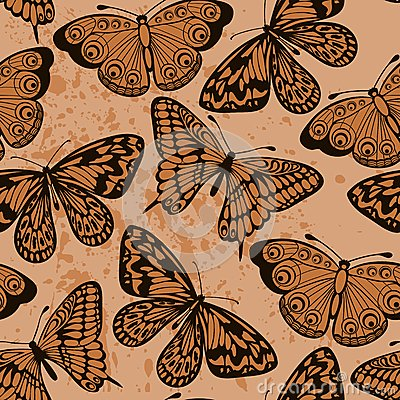 Seamless background. Butterflies on old dirty pape