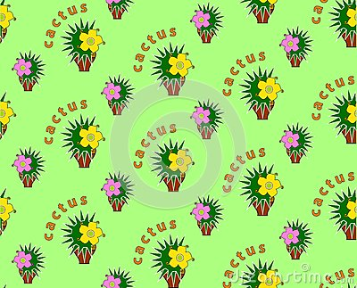 Seamless background with cactus