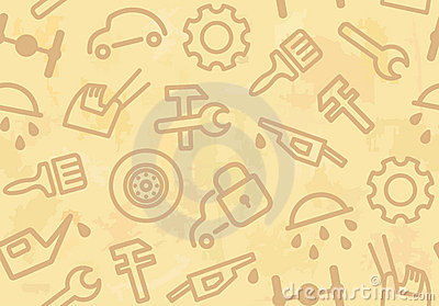 Seamless background with cars and spare parts