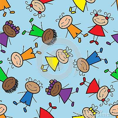 Seamless background with cartoon kids