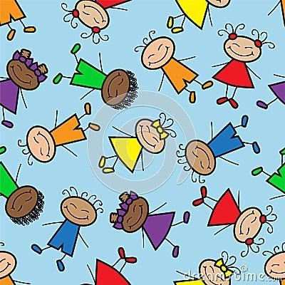 Seamless background with cartoon kids