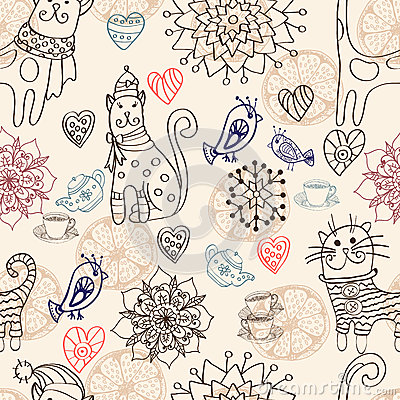 Seamless background with cats and flowers