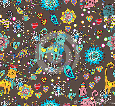 Seamless background with cats, flowers and hearts