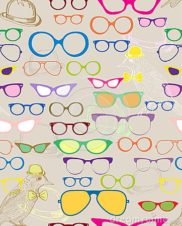 Seamless background with color eyeglasses