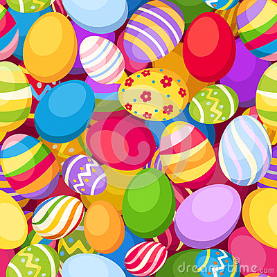 Seamless background with colorful Easter eggs. Vec