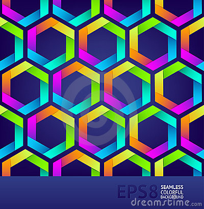 Seamless background with colorful hexagons