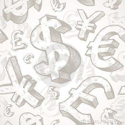 Seamless background with currency signs