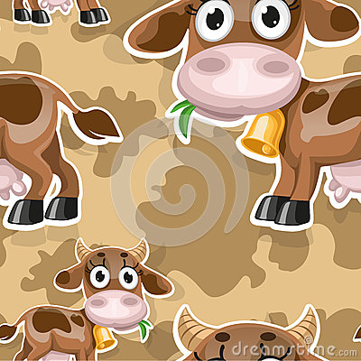 Seamless background with cute baby cow