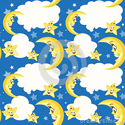 Seamless background with cute moon and stars