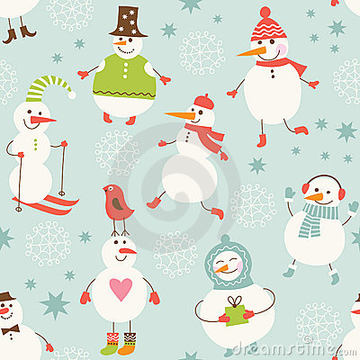 Seamless background with cute snowman