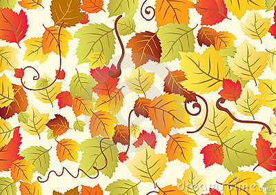 Seamless background with different autumn leaves
