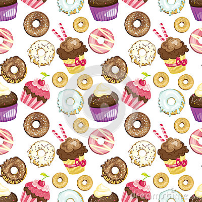 Seamless background with different sweets and desserts. tiled donuts and cupcakes pattern. Cute wrapping paper texture. Vector Illustration