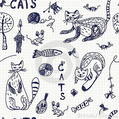 Seamless background with doodle cats