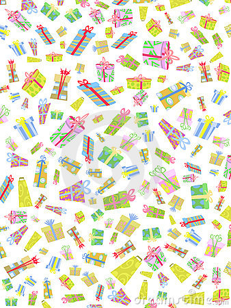 Seamless background of doodle gift box