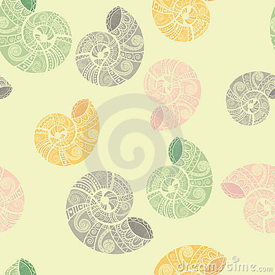 seamless background with ethnic snails