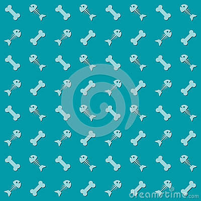 Seamless background with fish and bones